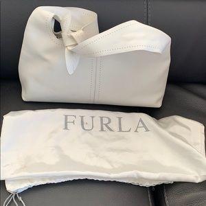 Furla  white leather shoulder zipper purse.